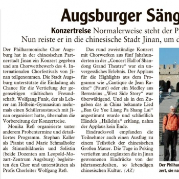 Augsburger Sänger im Reich der Mitte