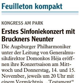 Ankündigung Bruckner